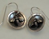 Sweet Sterling Silver Bee Earrings - Bee Jewelry - Small Bee Earrings - Bee Lover - Beekeeper's Gift