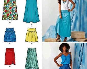 Misses' Skirt Pattern, High Low Skirt, Mini Skirt, Pull-on Stretch Knit Skirt, Simplicity Sewing Pattern 1616,