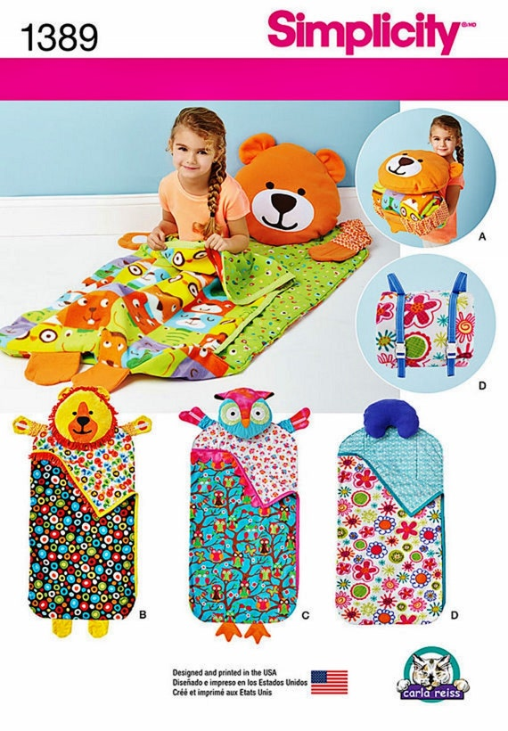 Childs Nap Pack Pattern Kids Animal Sleeping Bag