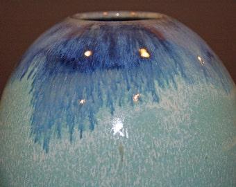 Blue and Green, Ceramics and Pottery Vase, Ceramic Vase, Flower Vase, Round Vase, Wheel Thrown, Home and Living, Home Decor, Vases