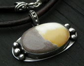 SALE!!!! Sterling silver opal  necklace statement necklace leather handcrafted modern urban  OOAK