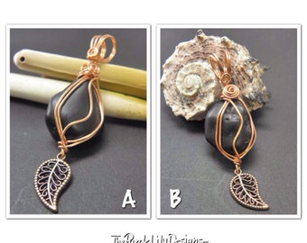 Lone Leaf Pendant, Pewter, Copper, Black Howlite, ThePurpleLilyDesigns
