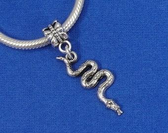 Snake Python European Dangle Bead Charm - Silver Snake Copperhead Charm for European Bracelet