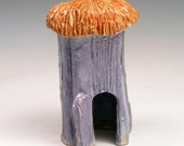 Lavender Ceramic Fairy House for Outdoor Garden or Indoor Plant
