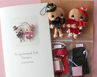 Gingerbread Folk Pattern Kit - Red