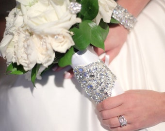 Bridal Bouquet Jewelry Rhinestone Brooch Beaded Embellishment Wrap