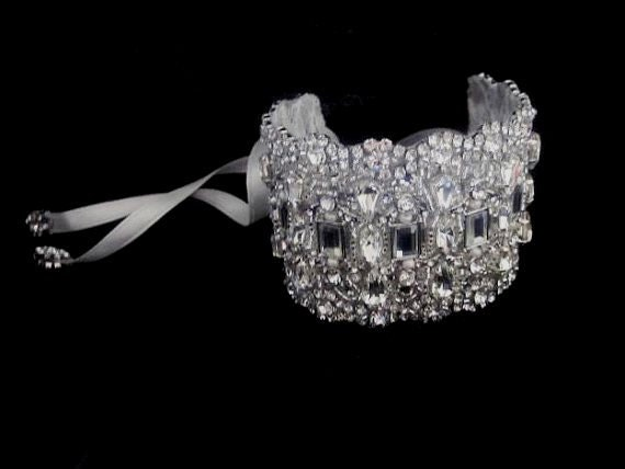 Wedidng Bridal Art Deco Crystal Bracelet Cuff Bangle