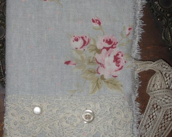Shabby Pale Blue with Rose's Linen  Vintage Lace  Tattered Needle Book Lg.