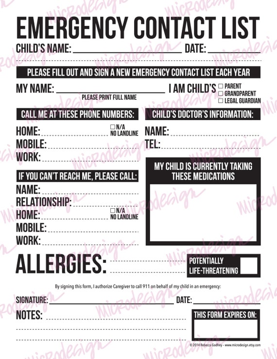 Emergency Contact Form For Nanny Babysitter Or Daycare: