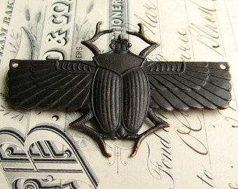 Egyptian scarab beetle pendant with drilled holes in wings - dark antiqued brass - 70mm - black patina - giant, large, huge - OR-FF-013