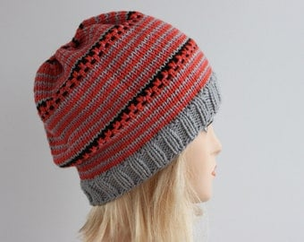 Grey and orange slouchy beanie, knitted oversized beanie, knitted slouchy beanie, striped beanie, beanie is ready to ship
