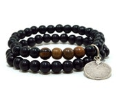 Mens double black wooden beaded stretch bracelets with antique bronze or silver Ottoman coin charm