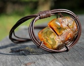 Amber Leather Mens Necklace Pendant Rustic Huge Cognac Honey Baltic Amber Charm Raw Stone Jewelry Free Form Zen eco friendly gift for him
