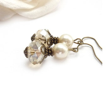Classic Pearl Bridal Earrings - Champagne Crystal - Creme Swarovski Pearls - Vintage Inspired - Downton Abbey Bridesmaid Earrings