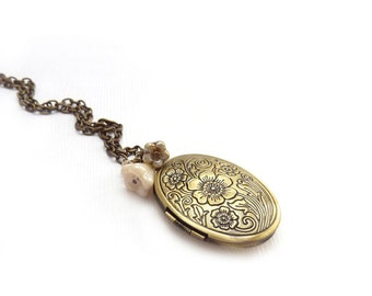 Victorian Bronze Locket - Ivory White Flowers - Romantic Keepsake Photo Locket - Victorian Style Jewelry