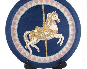 vintage metal tray - carousel horse - merry go round