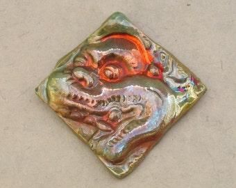 Ceramic Raku Pendant - Hanuman Diamond