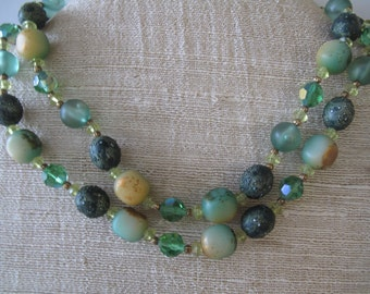 Mid Century Shades of Green Vintage Beads Lucite Glass Estate Jewelry
