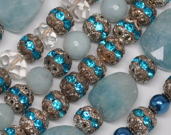 8 mm Vintage Silver Toned Patina Aqua Rhinestone Filigree Beads 8 or 20 Pieces