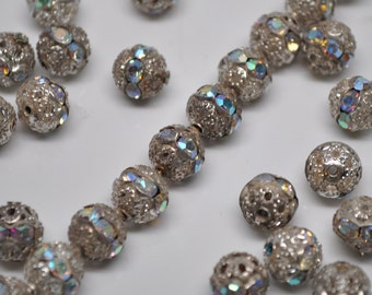 8mm Vintage Silver Patina AB Rhinestone Filigree Beads Rondelle 8 or 20 Pieces