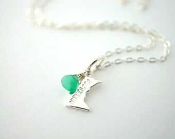 Silver State of Minnesota Charm Necklace, Silver Minnesota Charm, State Necklace, MN Necklace, Silver Minnesota Necklace