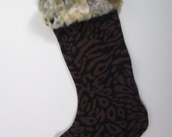 Faux Leopard Fur Trimmed Christmas Stocking