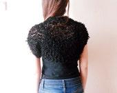 Hand knitted Black Shrug, knit vest, Black evening bolero jacket