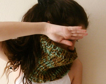 Brown and green  knit cowl, large earwarmer, chunky scarf, Hand Knit Cowl Scarf