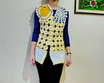 Yellow Crochet Sweater Vest with Daisy Flowers and silver doilies