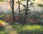 Misty Woods Original Oil Painting 14X18 canvas, landscapes, woods, flowers, trees, path, grass, Vickie Wade Art