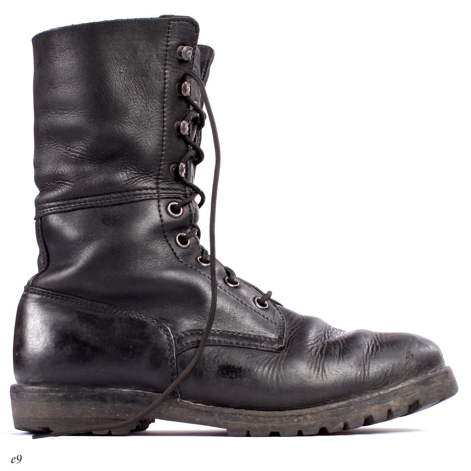 Black COMBAT Boots . Mens Army Lace Up Distressed by BetaMenswear