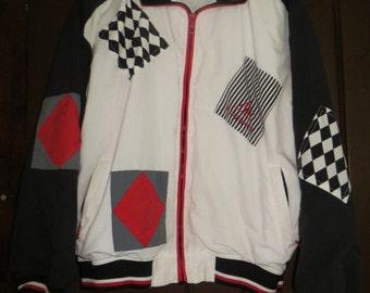 80s hipster   Vintage LE COQ SPORTIF windbreaker  Jacket  black white red