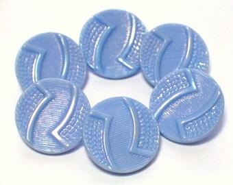 Vintage Blue Glass Buttons Aurora Borealis Lustre 19mm Set 6 with shanks
