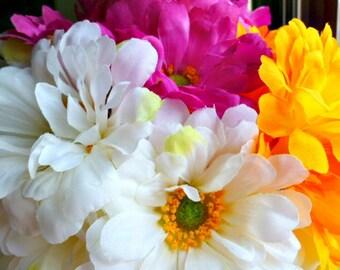 Flower Pen Set of 53 - Zinnias Yellow, Fuschia, White Wedding Bridal Shower Party Favors