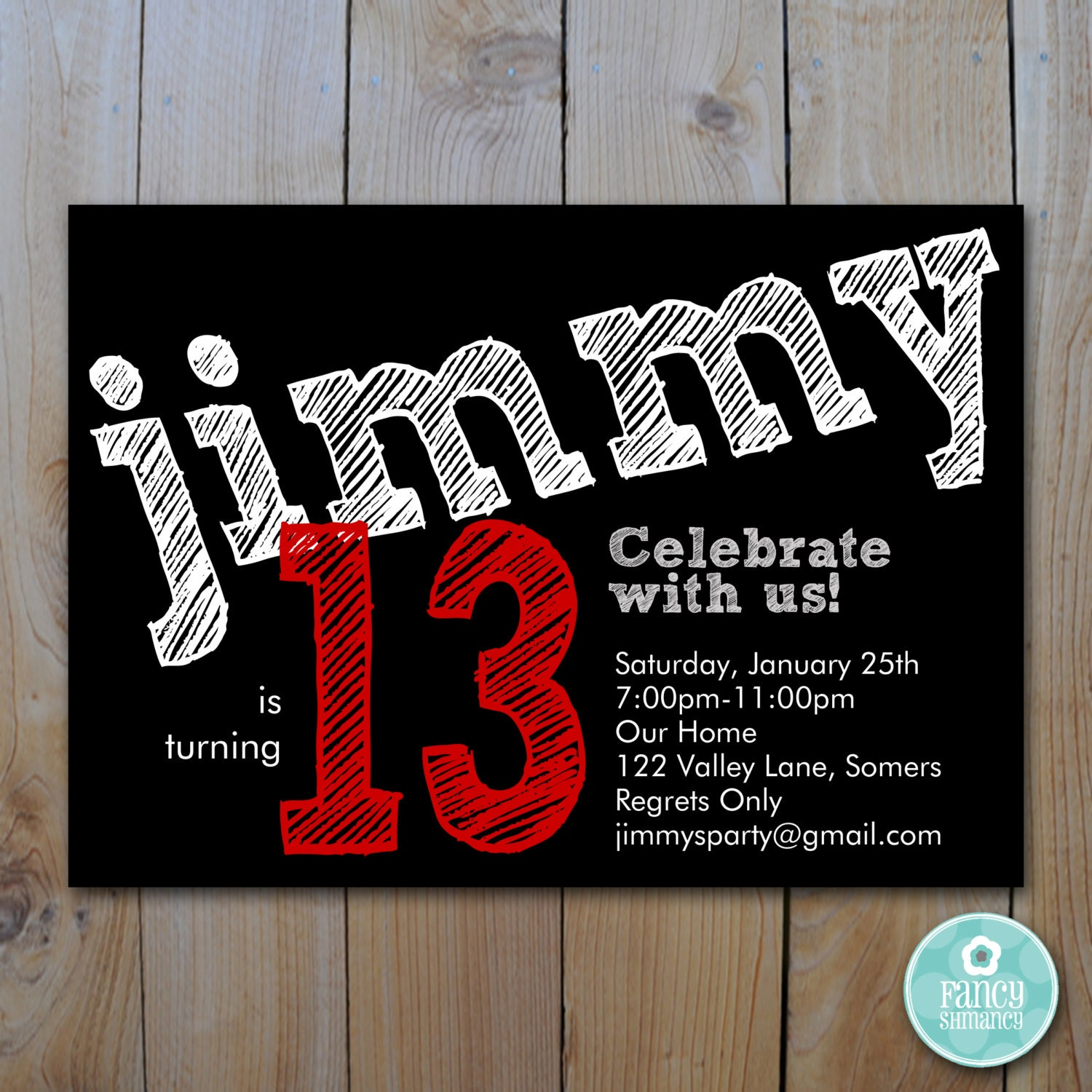 Teen Boy's Birthday Invitation / Red / Chalk lettering