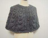 Knitting Gray Merino Wool Capelet