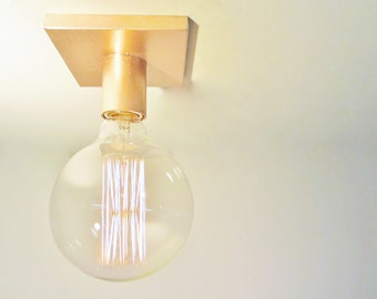 Minimalist Copper Exposed Bulb Flush Mount Ceiling Light or Wall Sconce -The Cole