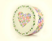 Hand Painted Hat Box - Elegant Pastel Floral Heart Design, Polka Dot Border on White  - Eco Reusable Gift Storage Large 7.5 in.