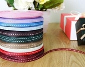 25 yards Ribbon in white stitch in 8 colors
