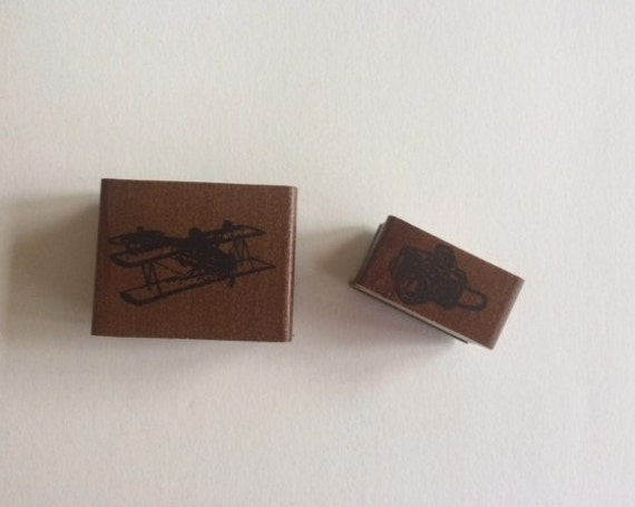 Vintage style plane and camera stamp
