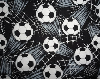 Soccer Ball Fabric sports cotton quilting sewing 1 yard
