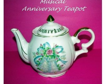 Tea Pot, Musical, Anniversary, by Lefton, 1962, 1970's