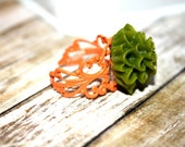 Mossy Green and Tangerine  Adjustable Flower Ring, Filigree Ring, Holiday Accessory, Holiday Gift
