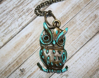 Owl Necklace, Antique Bronze Necklace, Patina Necklace