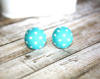 Turquoise with White Dots Fabric Button Earrings, Stud Earrings, Silver Ear Posts,