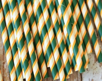 Kelly GREEN & YELLOW Double Stripes paper straws