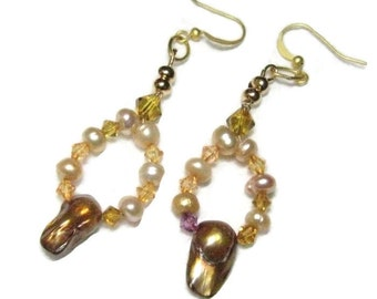 Natural Pearl Dangle Earrings, Freshwater Pearl Earrings