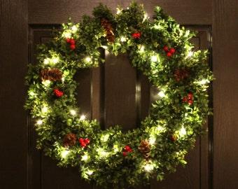 Pre-Lit Boxwood Christmas Wreath, Artifical Boxwood Holiday Wreath, Pre-Lit Christmas Wreath, Boxwood Wreath, Front Door Wreath (ON SALE)