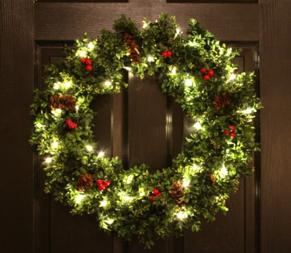Pre-Lit Boxwood Christmas Wreath Artifical By WeLoveWreaths