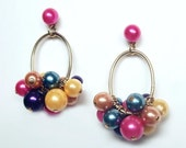 Colorful Dangle Cluster Beads Gold Tone Hoop Earrings 70s 80s Post Backs